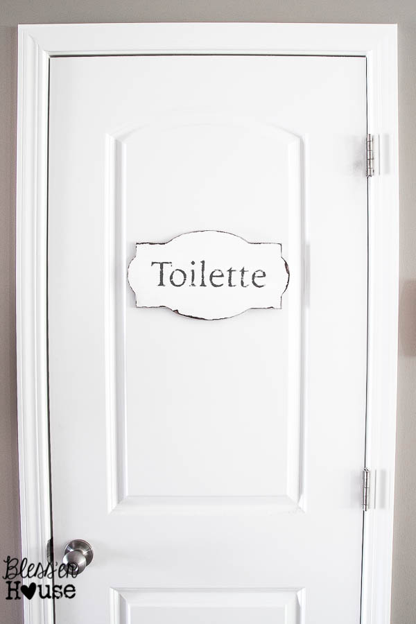 Simple And French Rustic Bathroom Sign Bless Er House