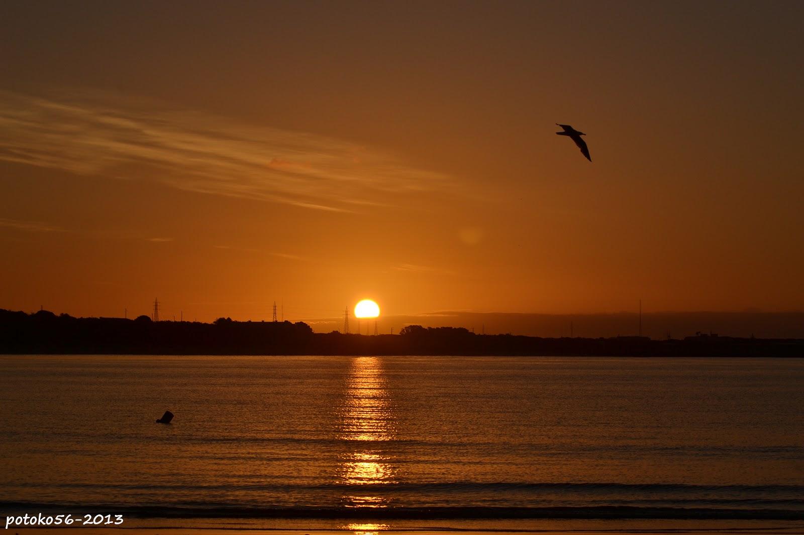 amanecer dorado en la playa del chorrillo Rota