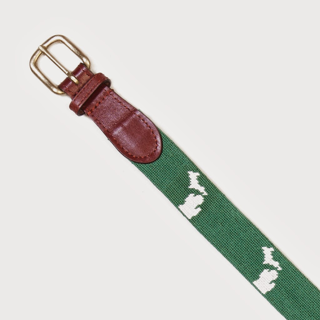 Michigan State Green/White Needlepoint and Leather Belt