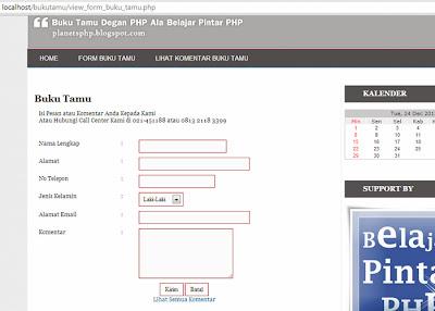 Halaman form buku tamu ala belajar pintar php