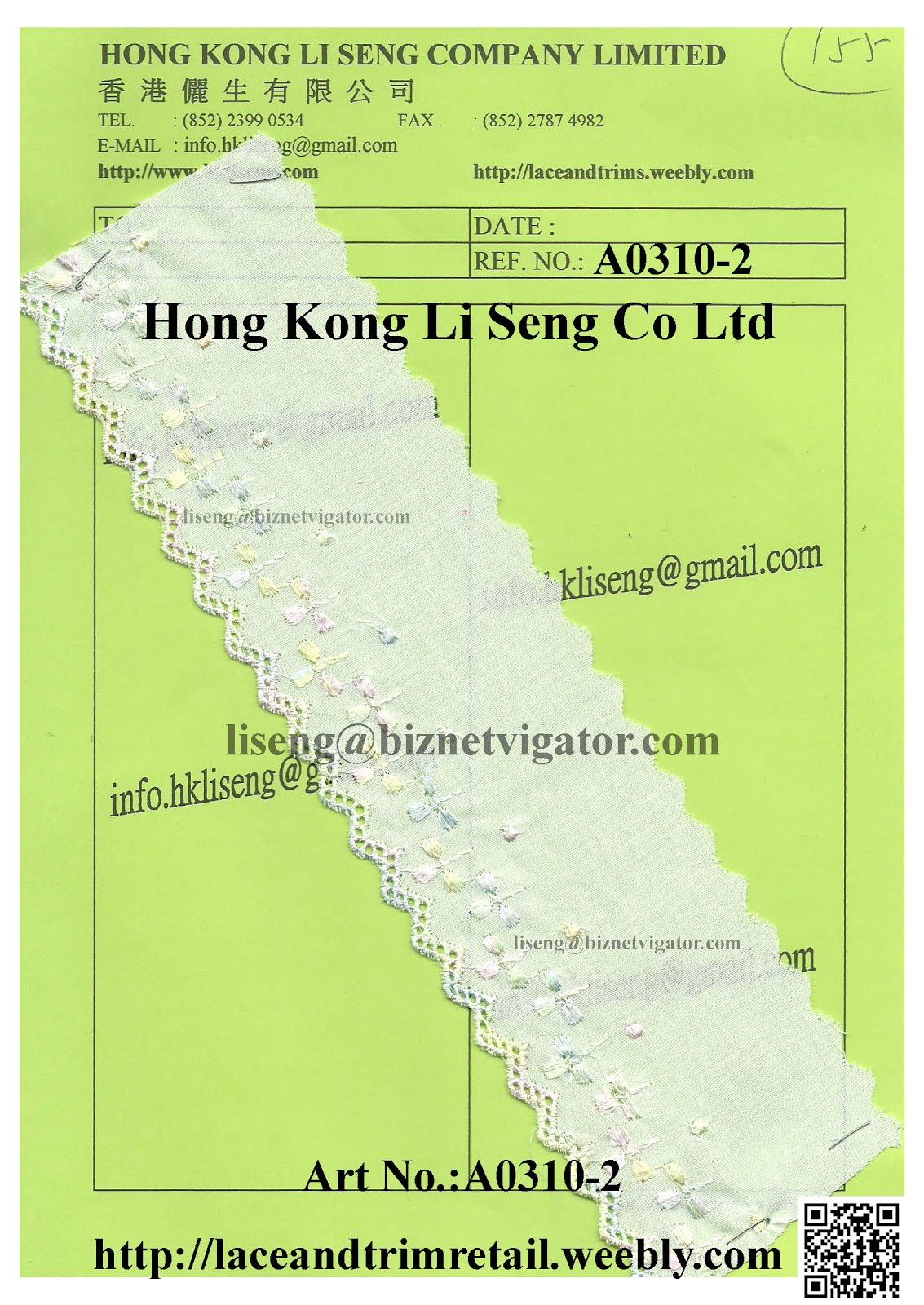 Global Stocklot Lace Trims Wholesaler Manufacturer and Supplier - Hong Kong Li Seng Co Ltd