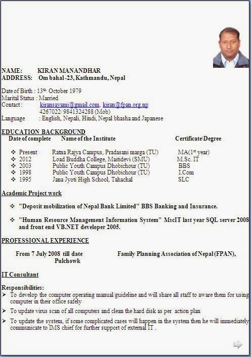 Biodata For Job Application