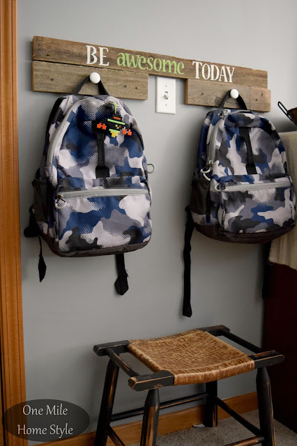 Back to School Backpack Drop Zone using reclaimed wood and knobs