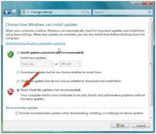 Menonaktifkan windows automatic update di windows vista