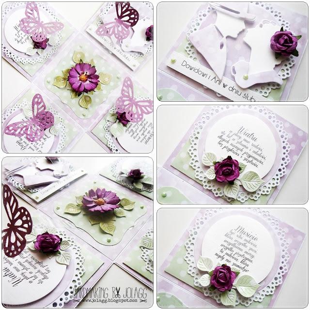 Pudełko na ślub z życzeniami i motylkami