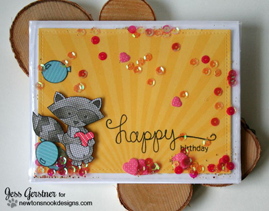 Sweet Raccoon Shaker Card by Jess Gerstner | Sweetheart Tails stamp set by Newton's Nook Designs