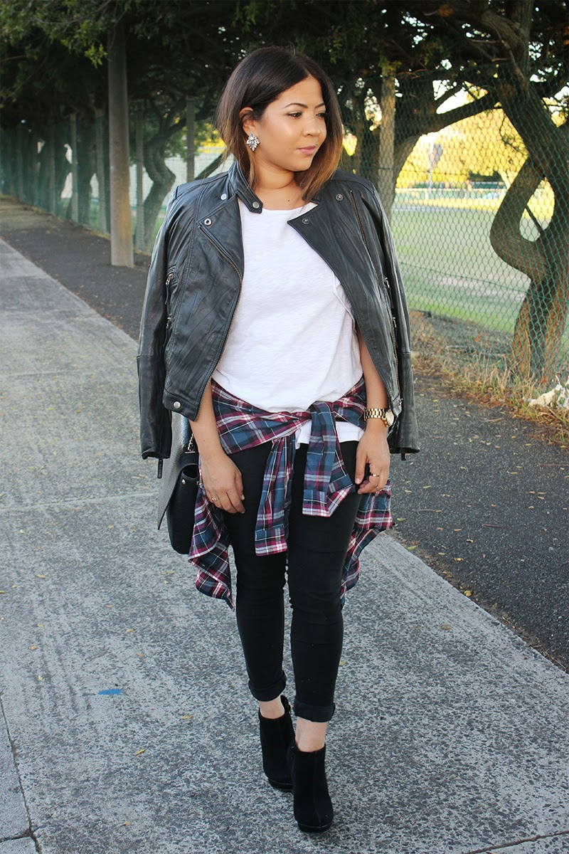 leather jacket, plaid shirt around waist, fashion blogger, ootd, laiqah ally, ombre hair