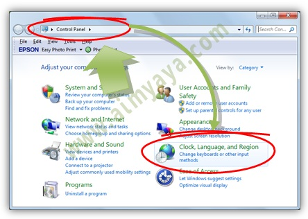 Gambar:  Menampilkan setting clock, region and languange di control panel windows
