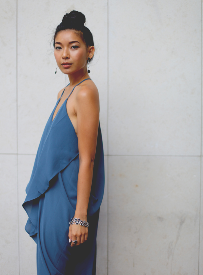 Stephanie Liu of Honey & Silk wearing LAST NIGHT Bellina Dress, Tacori City Lights jewelry, and 3.1 Phillip Lim Cody heels