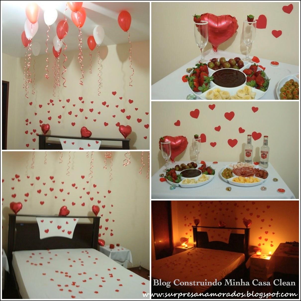 Balões no quarto e na sala de jantar! Pétalas de rosas vermelhas