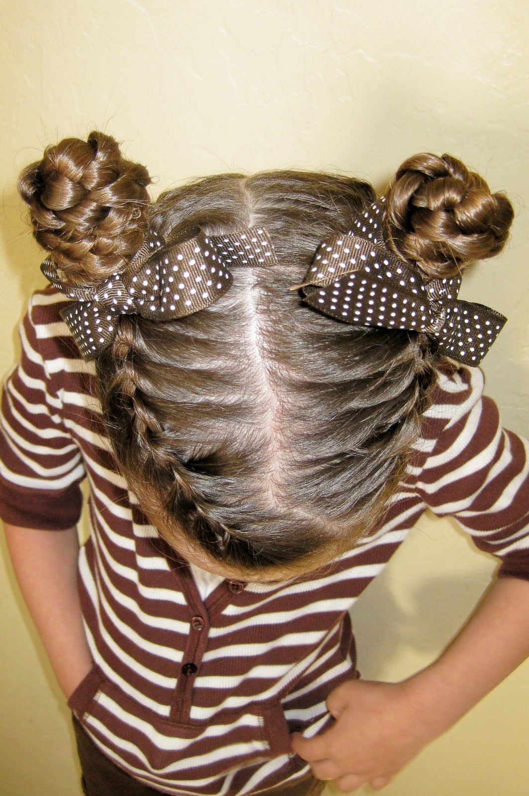 2 French Braids into Two Buns with Weave