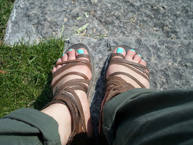 My feet, mint nail polish and gladiator sandals
