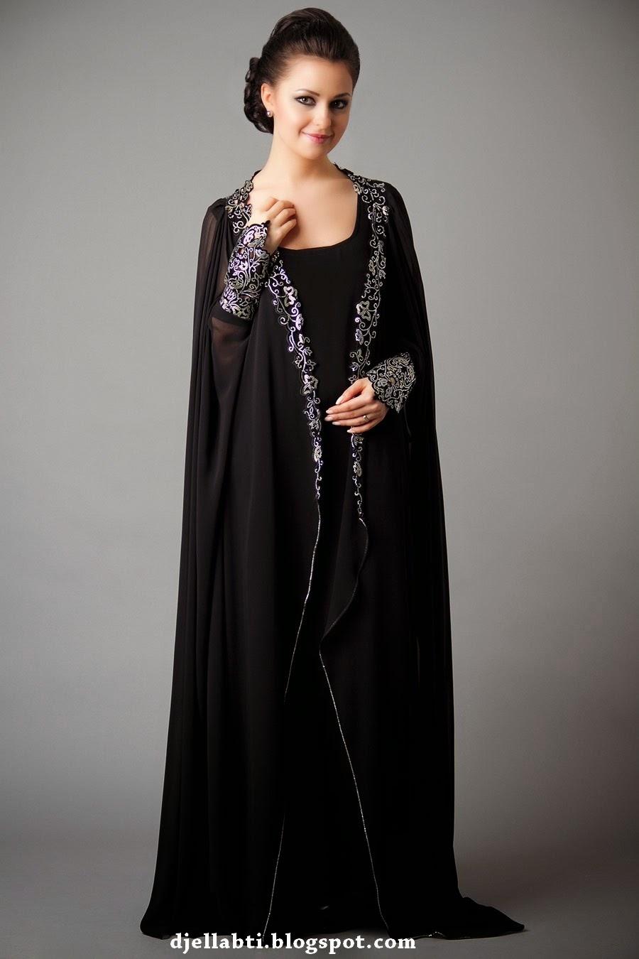 Abaya, Collection Noir, Abaya noir, femme, abaya luxe, abaya marocaine,djellabti.blogspot.com, djellabti,