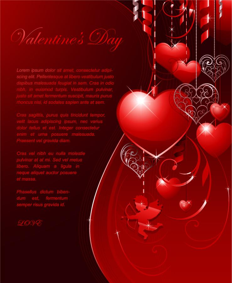 ハート飾りのバレンタインデー カード Heart valentine's day greeting card イラスト素材4