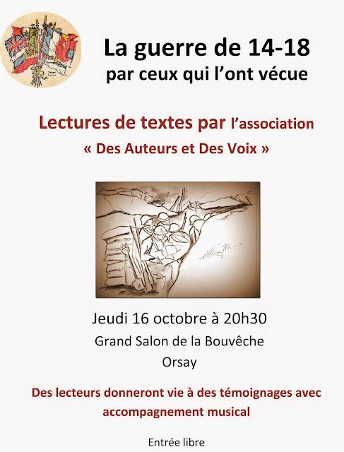 A ORSAY  jeudi 16 OCTOBRE: la guerre de 14 par ceux qui l'ont vécue (lectures de textes).