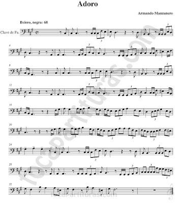 Partituras en Clave de  Fa en 4º Línea para Trombón, Chelo, Fagot, Bombaridno, Tuba y otros instrumentos  Sheet Music in Bass Clef for Trombone, Chelo, Bassoon, Tube, Euphonium...