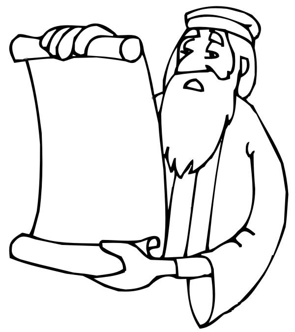 Desenho Bíblico Para Pintar - Profeta Com Pergaminho 2