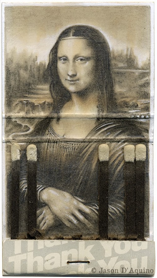 04-Mona-Lisa-Jason-D-Aquino-Vintage-Matchbook-Drawings-www-designstack-co