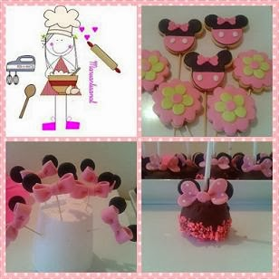 Galletas, pop cake y toppers de Minnie