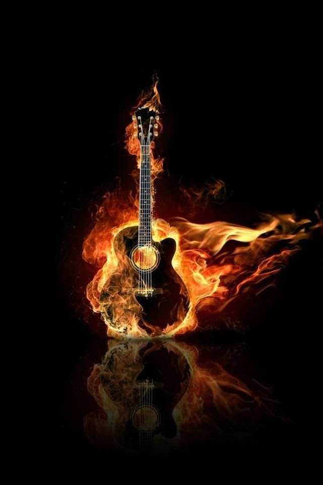 Burning Guitar   Galaxy Note HD Wallpaper