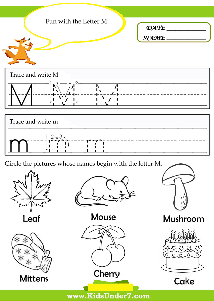 Free Trace Letter M Coloring Pages