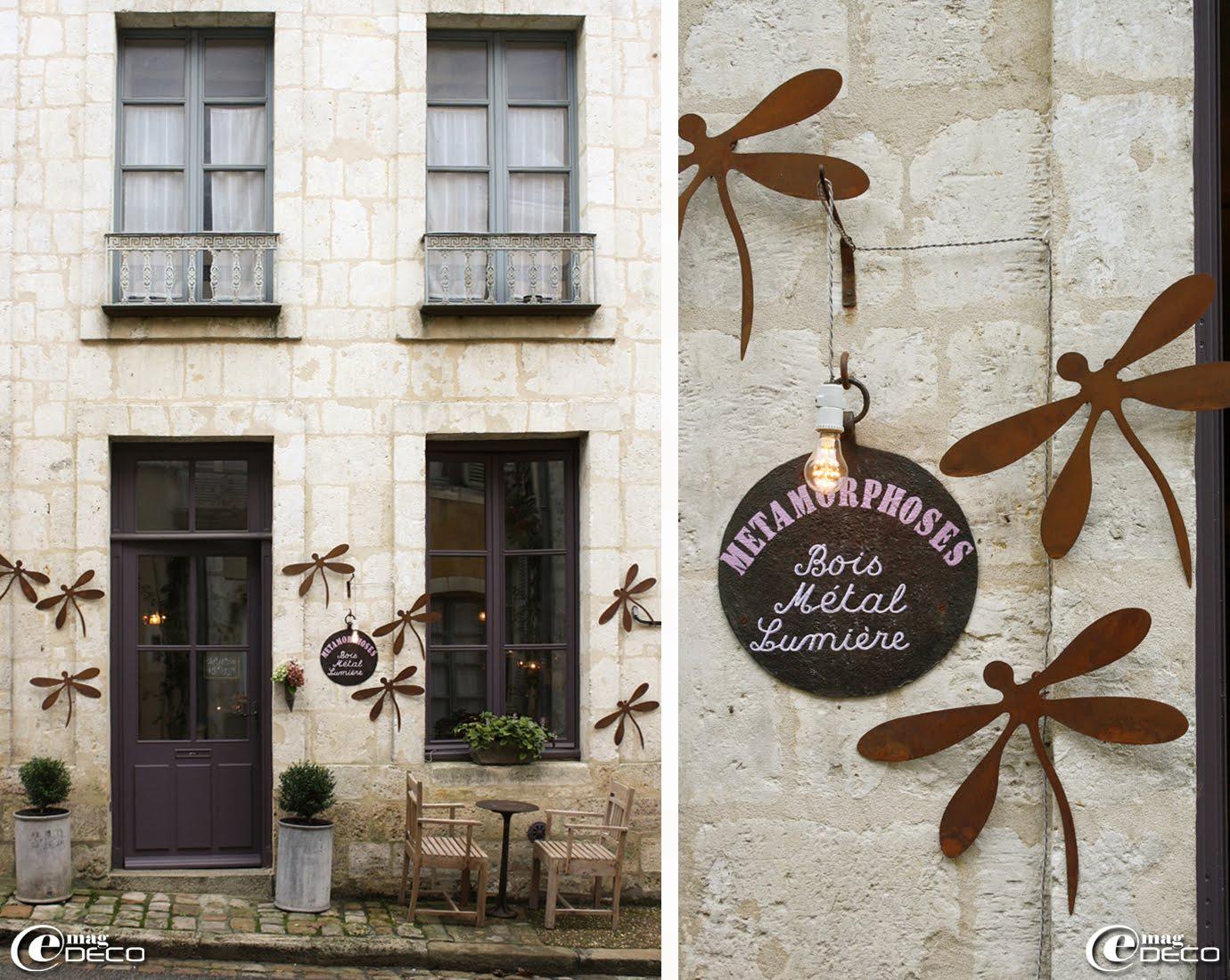 Façade de la boutique 'Métamorphoses' en haut de la rue Ville Close à Bellême, tout près de la porte de l'ancienne enceinte de la cité