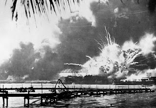 USS Shaw hitted by japanese bombs in Pearl Harbor , 1941