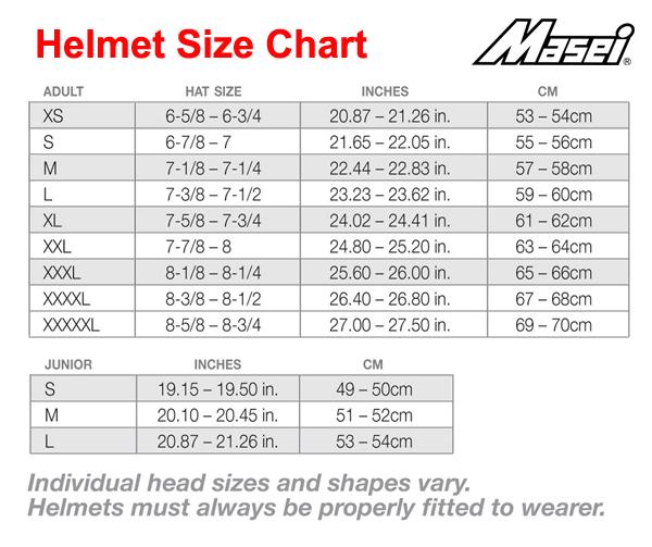 Masei Helmet Size Chart