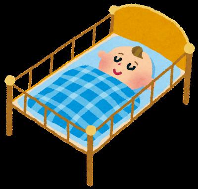 赤ちゃんのイラスト「ベビーベッド」