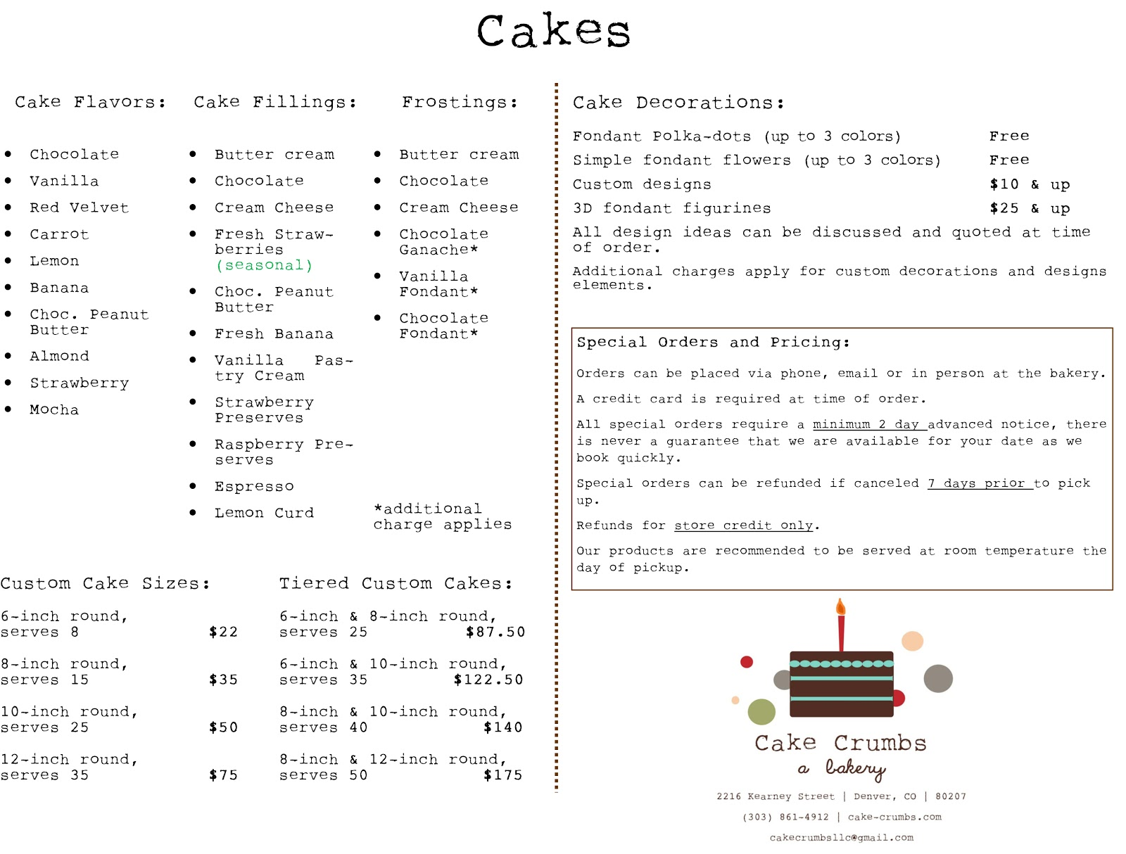 Cake Crumbs Bakery Cake Crumbs Cake Menu