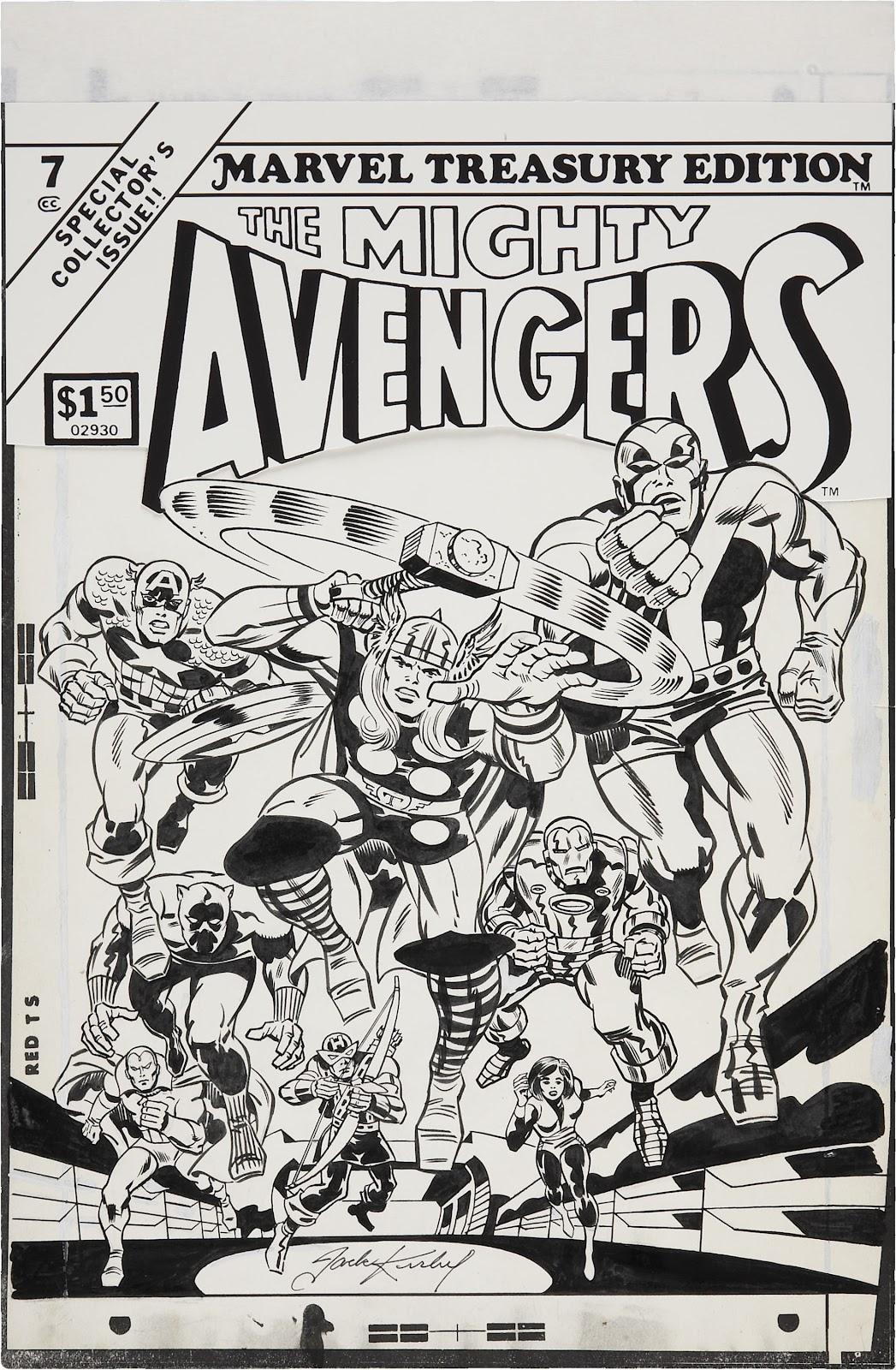 Black N White Book Cover : Avengers week original comic art
