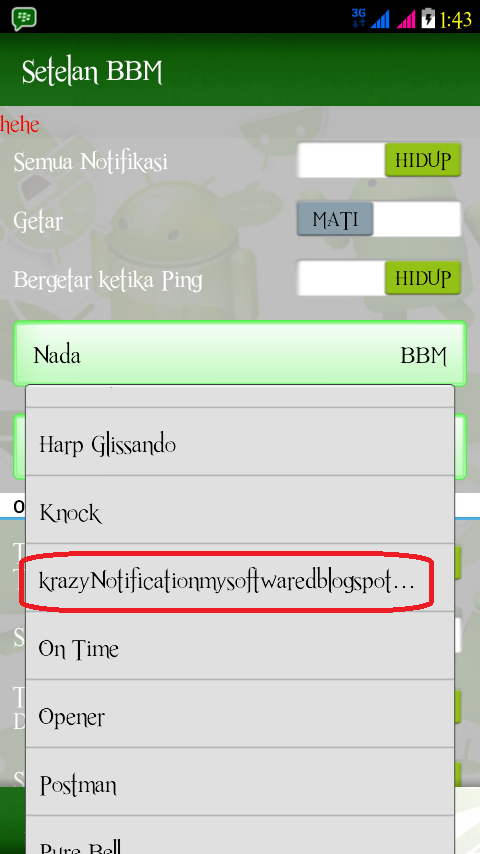 Cara Ganti Nada Dering BBM Android Dengan Musik MP3