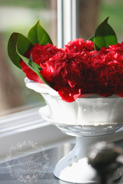 Red camellia in vintage cut flower pot.