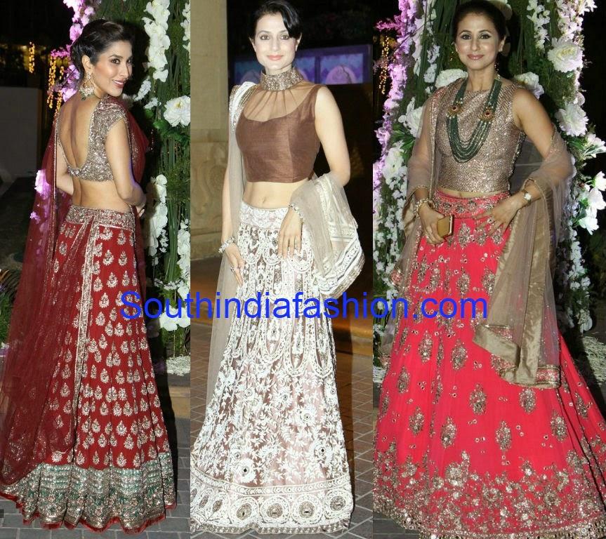 bollywood actress in manish malhotra lehengas