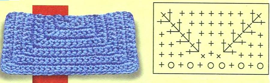 Схема для вязания прямоугольного клапана для сумки.