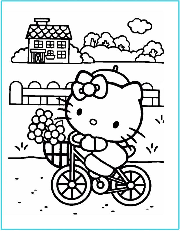 Hello Kitty en bici para colorear : Locos por Hello Kitty
