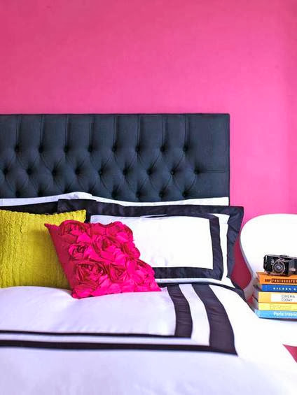 master bedroom design ideas, headboard, walls, pillows in bright colors