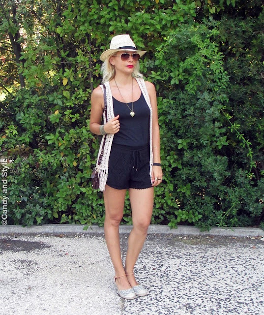 StrawFedora+AviatorShades+CrochetVest+BlackTank+LaceShorts+WedgeEspadrilles+MiniBag+RedLips+BeachWaves - Lilli Candy and Style Fashion Blog