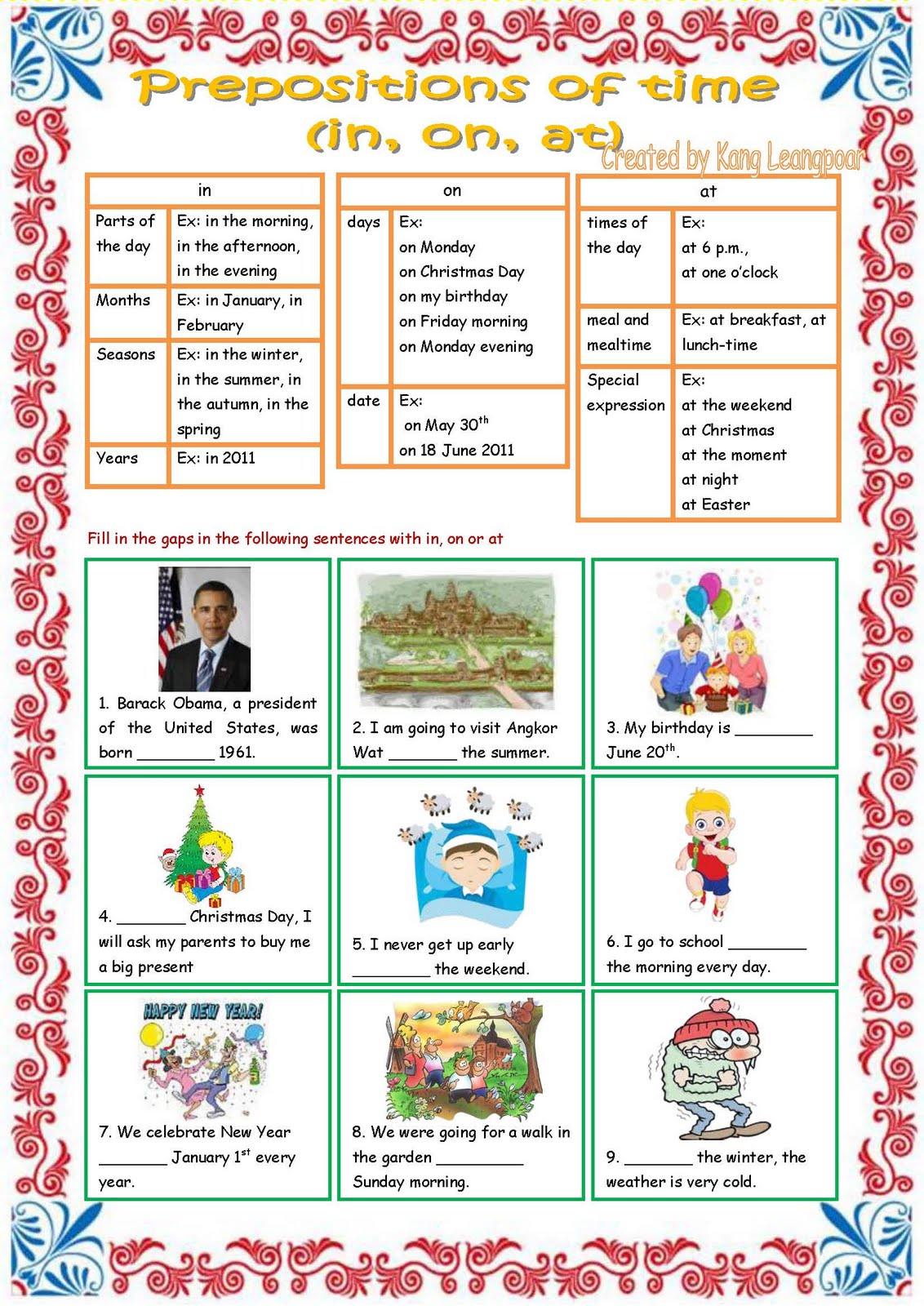 worksheet Prepositions Of Time Worksheet preposition of time worksheet esl english teaching worksheets kang leangpoar