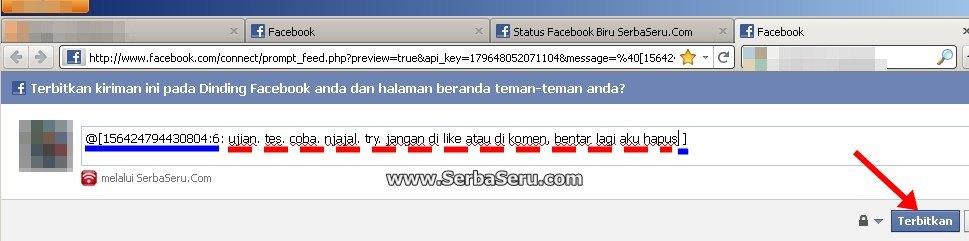 Cara Buat Update Status Facebook Warna Biru dari HP