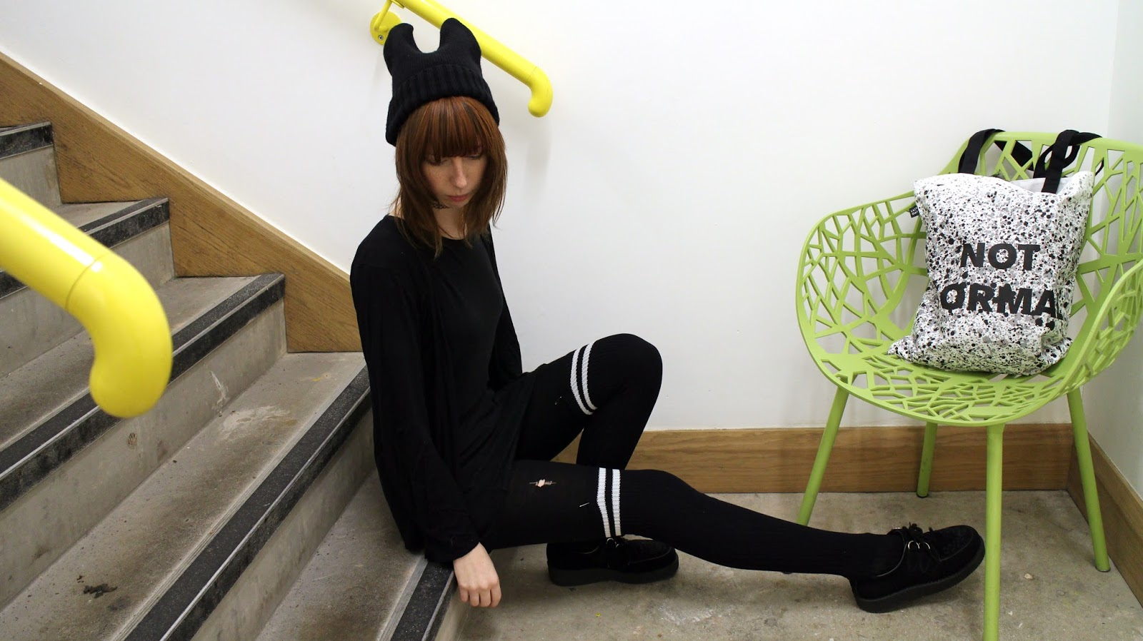 LazyOaf Not Normal Tote, Bunny Beanie