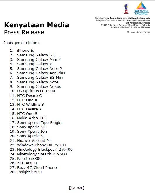 Senarai Rasmi Telefon Rebat SKMM