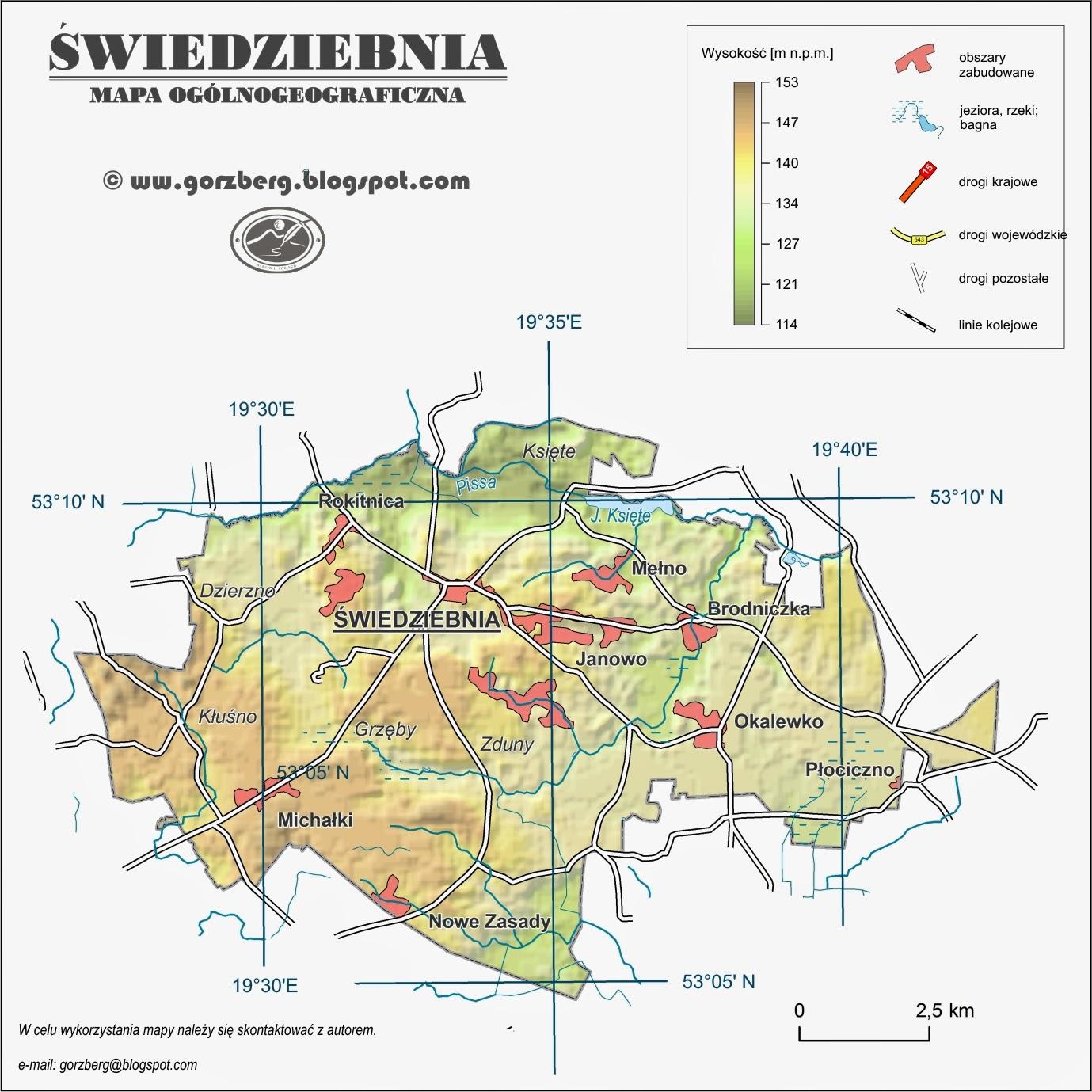 Mapa ogólnogeograficzna gminy Świedziebnia
