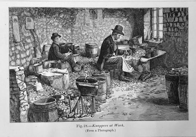 Illustration showing knappers at work.