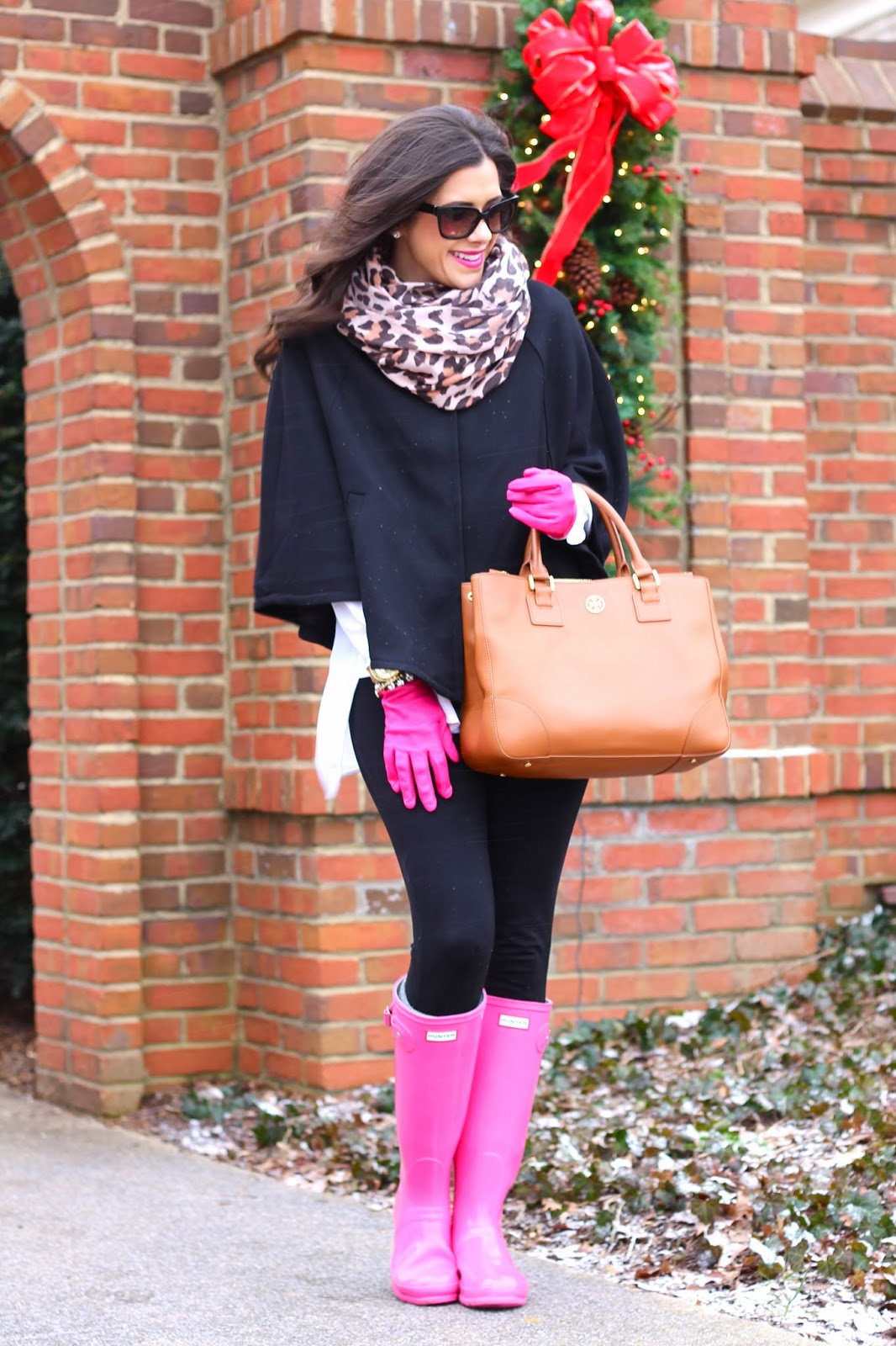 www.thesweetestthingblog.com, the sweetest thing blog, emily gemma, hot pink gloves, leather pink gloves, prada sunglasses, jcrew, jcrew pixie pant, mac cosmetics lipstick, leopard print scarf, leopard scarf, hot pink rainboots, hunter rainboots, pink hunter boots, tory burch robinson tote, michael kors watch, gold michael kors watch, winter pinterest fashion