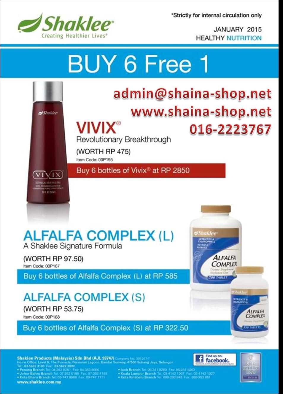 PROMOSI SHAKLEE JANUARI 2015: VIVIX & ALFALFA COMPLEX (BELI 6 PERCUMA 1)