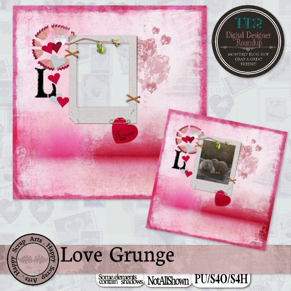 New kit Love Grunge and DDR Blog Hop and CU Freebie