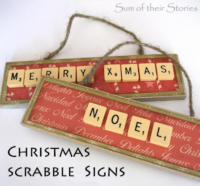 Make Christmas decoration with scrabble tiles