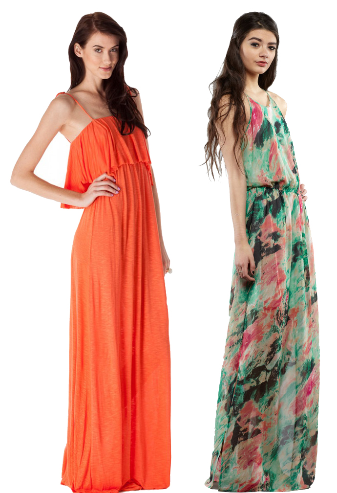 Designs By Stephene Michelle Ruffle dress and Rory Beca Gemma dress in Cosmo print