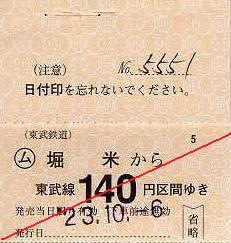 東武鉄道 常備軟券乗車券19 佐野線 堀米駅